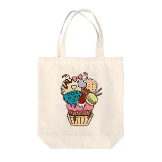ラブリーMAXケーキ Tote bags