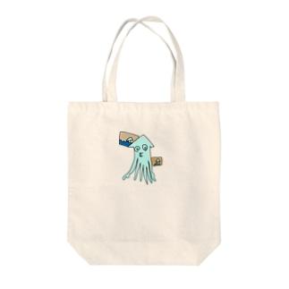 いか(めがまわる) Tote bags