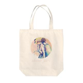 sheep girl Tote bags