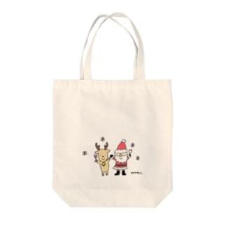 サンタクロースとトナカイと乾杯 Tote bags