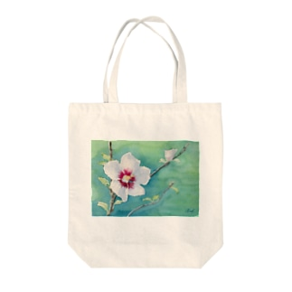 ムクゲ:透明水彩でお花の絵 Tote bags