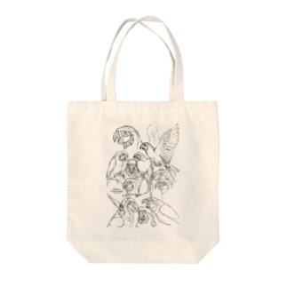 らくがきルリコンゴウインコ Tote bags