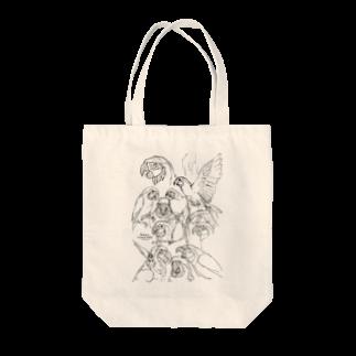 フロッグツリーのらくがきルリコンゴウインコ Tote bags