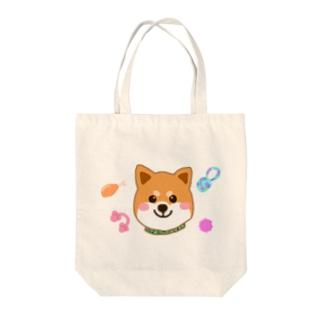 柴犬まろんくん 大好きなおもちゃと共に Tote bags