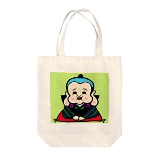 にんまり笑う福助さん Tote bags