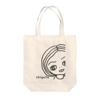 チキータちゃんモノクロ Tote bags
