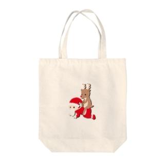 トナカイとサンタ Tote bags
