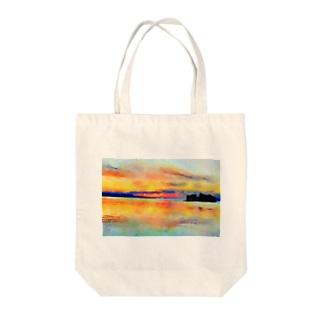宍道湖の夕日 水彩 Tote bags