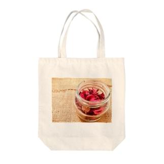 麻袋&赤い花3 Tote bags