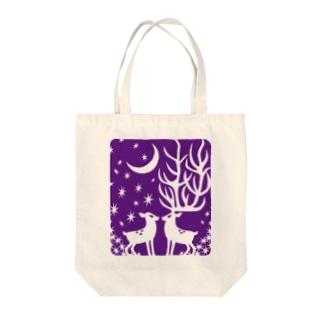 鹿・ぱーぷる Tote bags