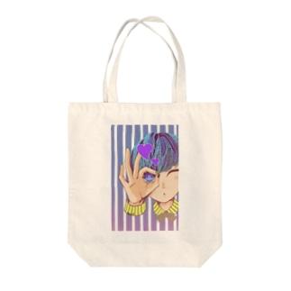 のぞいてみる?(紫) Tote bags