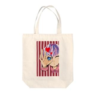のぞいてみる?(レッド) Tote bags