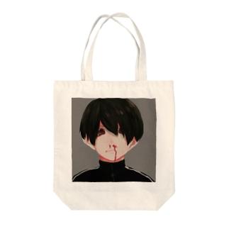 鼻血くん Tote bags