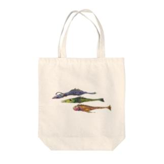 魚、細長い三匹 Tote bags