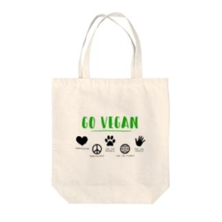GO VEGAN - コットンバッグA Tote bags