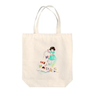 ミニョンヌちゃんとうさぎ Tote bags