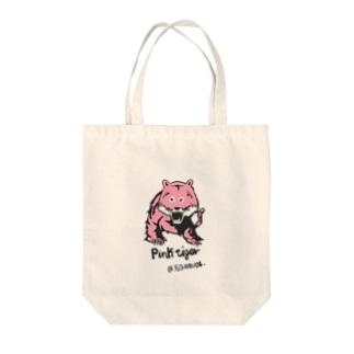 ピンクタイガー Tote bags