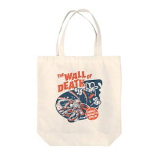 the Wall of Death : Navy / Red Tote bags