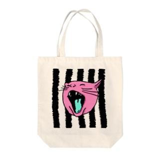 猫 たてじま Tote bags