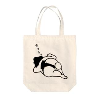 居眠りお相撲さん(黒) トートバッグ