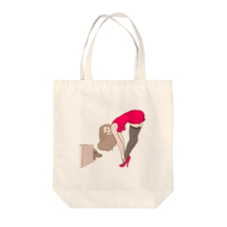 Pinup girl-puppy Tote bags