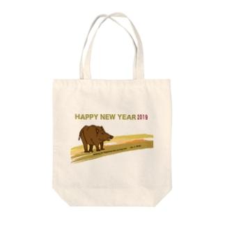 2019亥年の猪のイラスト年賀状イノシシ トートバッグ