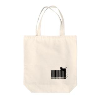 猫とバーコード Tote bags