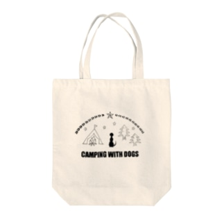 CAMPING WITH DOSG Tote bags