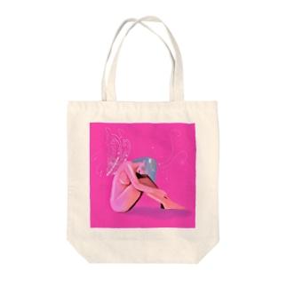 ピンクゆめかわガール Tote bags
