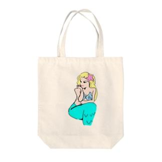 美人で綺麗なセクシーセレブのお嬢様人魚姫 Tote bags