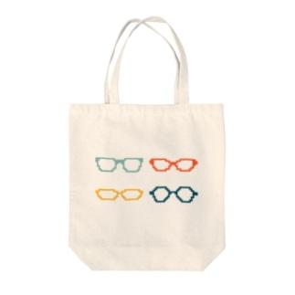 4色めがね Tote bags