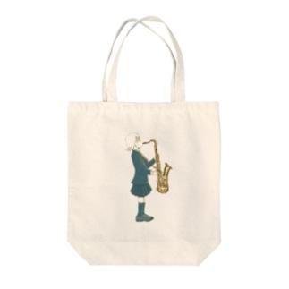サックスと女の子 Tote bags