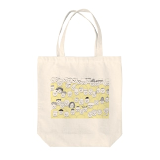 黄色ハイネックの会 Tote bags