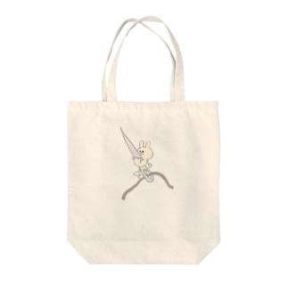 チーズ・ププのちくちくお裁縫ウサギ Tote bags