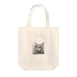 鉛筆画の猫ちゃん Tote bags