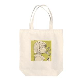 植物と女の子(tote bag) Tote bags