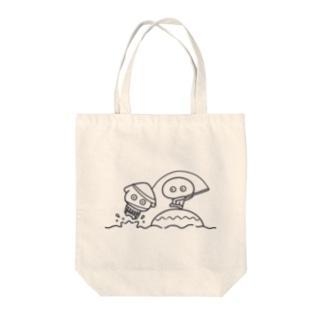 いかたこ 釣り(ネイビー) Tote bags