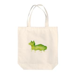 水彩イラスト 緑猫 Tote bags