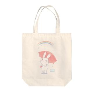 寂しがりうさぎ(雨のち晴れ) Tote bags