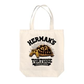 ヘルマンさんカレッジロゴ文字黒 Tote bags