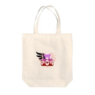 Angel heart bear Tote bags