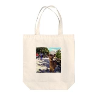 カメラ目線の奈良の鹿 Tote bags