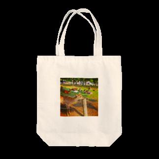 ならばー地亜貴(c_c)bのあごのせ奈良の鹿 Tote bags