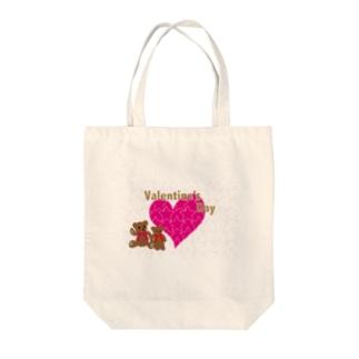 バレンタインのピンクのハートとテディーベアのカード Tote bags