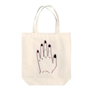 左手-黒- Tote bags