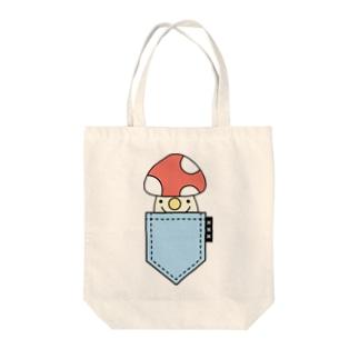 ポケットinきのこ(blue) Tote bags
