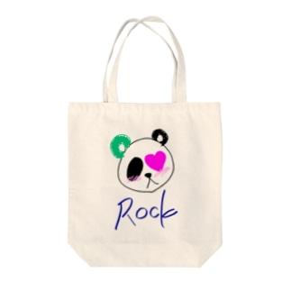 Rock   panda Tote bags