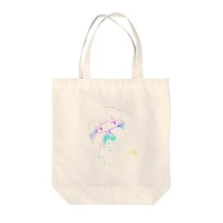 レインボーガール Tote bags