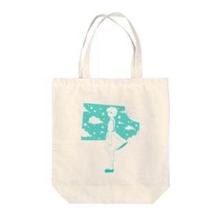 星の窓(ブルー) Tote bags