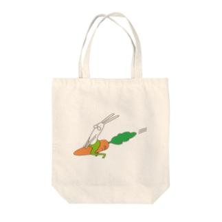 うさぎタイツのにんじんライド Tote bags